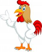 stock photo of rooster  - Vector illustration of Cute rooster cartoon presenting - JPG