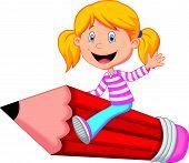 Cartoon girl riding flying pencil