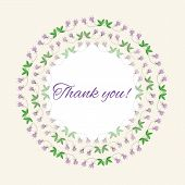 Postcard gratitude with romantic flowers and light pastel backgr