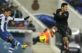 BARCELONA - NOV, 30: Hector Moreno(L) of Espanyol vies with Carlos Vela(R) of Real Sociedad during a