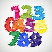 Fun numbers scratched vector font