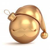 Christmas ball Santa hat decoration ornament Happy New Year bauble gold avatar emoticon