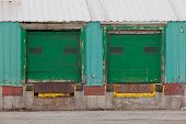 Green Shuttered Outside Loading Gate Ramps