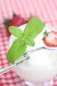 Ice Cream With Mint In A Glass Bowl And Strawberry On Plaid Fabric