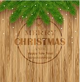 Wooden Texture And Christmas Fir Tree