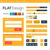 Flat web and mobile design elements, buttons, icons. Website template.