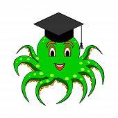 A Funny Cartoon Octopus In A Magister Cap