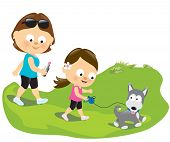 picture of puppies mother dog  - Illustration of a mother and daughter walking with their dog - JPG