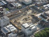 Aerial Of Downtown Construction