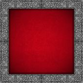 Silver Floral Frame On Red Velvet Background