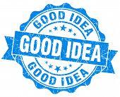 Good Idea Grunge Blue Vintage Round Isolated Seal