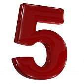 3d shiny matt red font made of plastic or ceramic -  number five 5