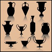 Set Of Ancient Ceramics Silhouette