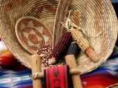 stock photo of american indian  - This picture of Native American basketry was taken at the Hyatt Tamaya near Albequrque NM - JPG