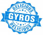 stock photo of gyro  - Delicious gyros grunge blue vintage round isolated seal - JPG