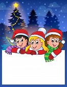 Small frame with Christmas children - eps10 vector illustration.