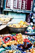 image of heliotrope  - Colorful gemstones on sale at a flea market in Jerusalem Israel - JPG