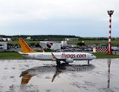 BUCHAREST, ROMANIA - MAY 15, 2014:  A Pegasus Airlines plane on the tarmac in Bucharest, Romania, on