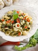 orecchiette with turnip top and hot chili pepper