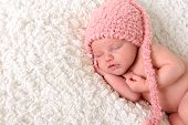 stock photo of headband  - Newborn baby girl sleeping - JPG