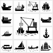 Vector icon set ship and boat