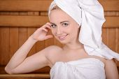 pic of sauna  - Beautiful woman in sauna - JPG