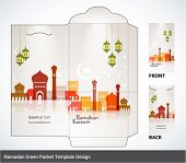 Vector Muslim Mosque Elements Ramadan Money Green Packet Design. Translation: Ramadan Kareem - May G