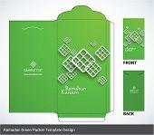 Vector Muslim Ketupat Elements Ramadan Money Green Packet Design. Translation: Ramadan Kareem - May Generosity Bless You During The Holy Month.