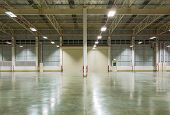 picture of concrete  - Empty factory background with concrete floor nighttime - JPG