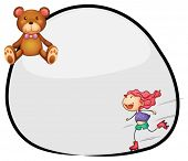 Illustration of a round template with a young girl skating and a bear on a white background