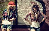 foto of graffiti  - Two teen girl friends together having fun - JPG