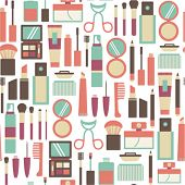 pic of hair curlers  - seamless pattern with makeup icons - JPG