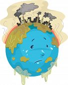 Illustration Featuring a Sad Globe with Toxic Chemicals Dripping All Over it