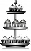 Icon Illustration Featuring a Cupcake Tower Drawn in Black and White