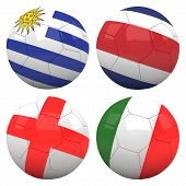 3D Soccer Balls With Group D Teams