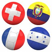 3D Soccer Balls With Group E Teams Flags