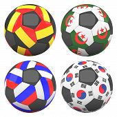 3D Soccer Balls With Group H Teams Flags