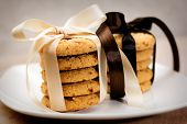 Stacks Of Apple Chip Cookies Taped With Silk Ribbons