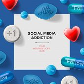 Social media addiction concept with pills headlines excuses