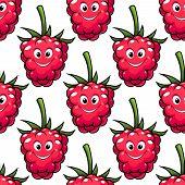 Cute ripe red raspberry seamless pattern
