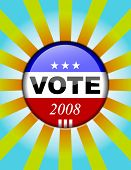 Vote button - presidential elections button with striped background