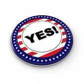 USA elections button with the expression Yes!