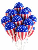 Patriotic US balloons with American flag design over white
