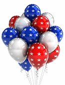 American patriotic balloons in traditional colors over white