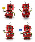 picture of robotics  - Little vintage toy robot set jumping and waving over white background - JPG