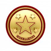 Isolated golden seal with five stars for outstanding excellence