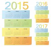 Set Of Russian 2015, 2016, 2017 Color Vector Calendars