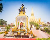 Statue Of The King Chao Anouvong,  The Last Monarch Of The Lao Kingdom