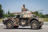Italian Armored Car At Militalia In Milan, Italy
