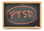 detailed illustration of a PTSD term on a blackboard, eps10 vector, gradient mesh included